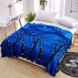 Autumn and Winter Coral Fleece Blanket Warm Sheets Flannel Blanket Microfiber Soft Fabric Moisture Absorbing Breathable Active Printing and Dyeing Night View 230250cm