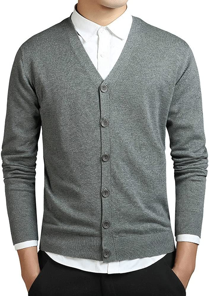 YCZDG Spring Long Sleeve Cardigan Men Knitted Oversized Slim Cotton Sweaters Casual Knitwear (Color : Gray, Size : XXL Code)