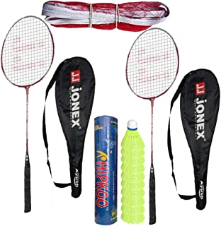 HIPKOO SPORTS Jonex Ayush Badminton Complete Set (2 Racket, Pack of 10 Shuttlecocks and Net)
