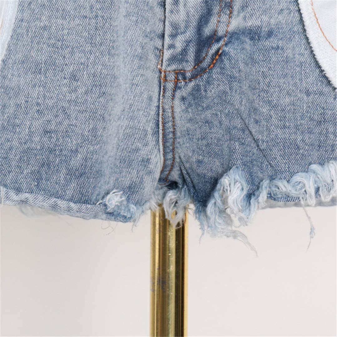 DFLYHLH High Waist Patchwork Denim Shorts Skirts for Women Button Sexy Casual Shorts