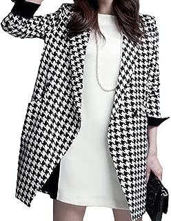 Locomo Women Black White Houndstooth Faux Wool 3/4 Sleeves Cape Coat FFJ013L