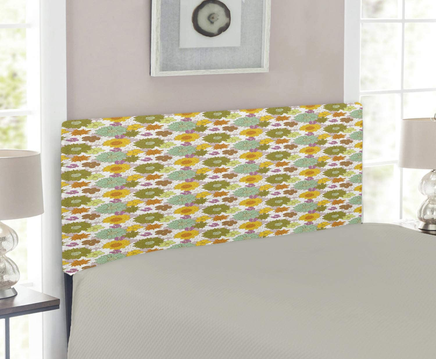 Ambesonne Flower Headboard Max low-pricing 84% OFF Retro Colored Blossoms Small and Big
