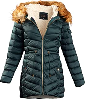 Women Satin Puffer Bubble Jacket with Full Fur Lining (Forest Green, Large)'