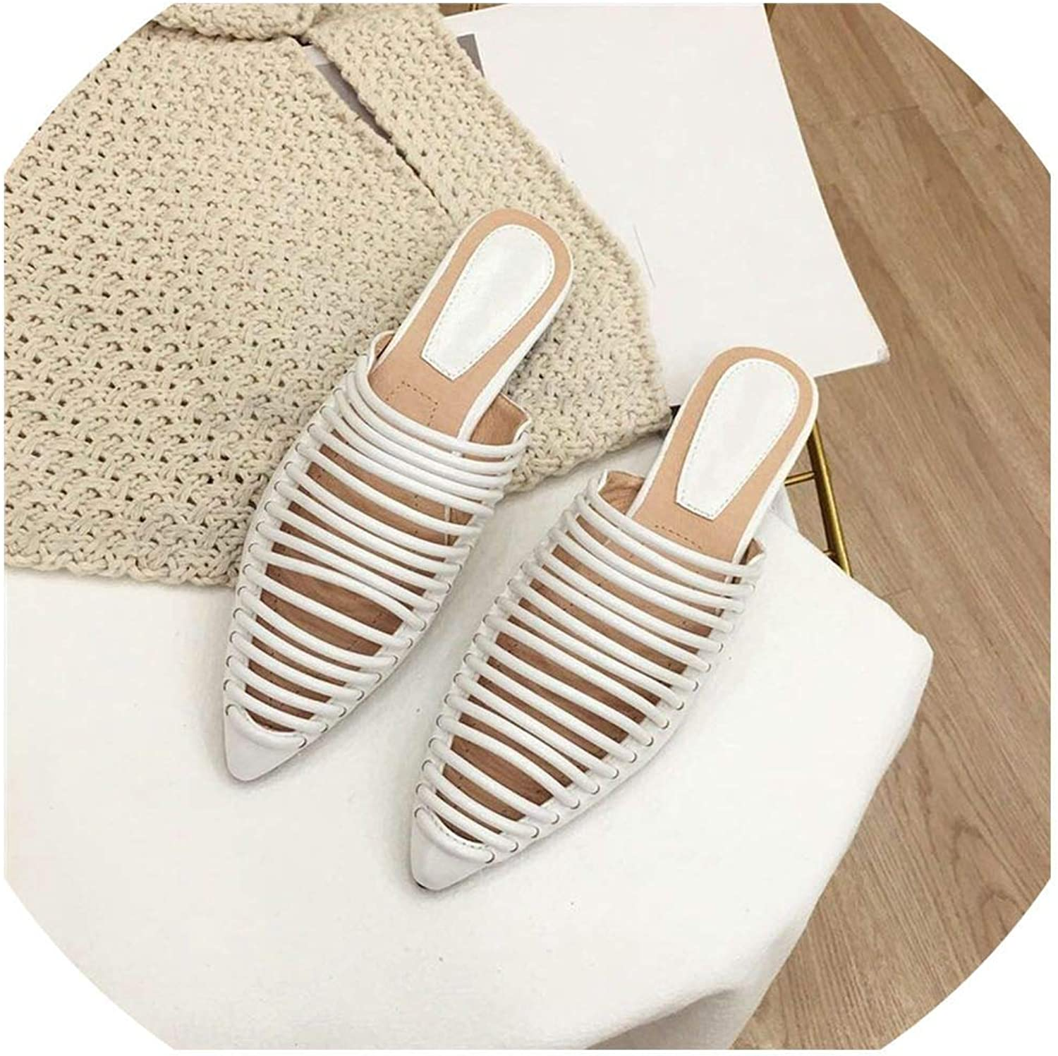 YOU LOOK PRETTY Slippers Women Flats Mules shoes Stripe Slippers