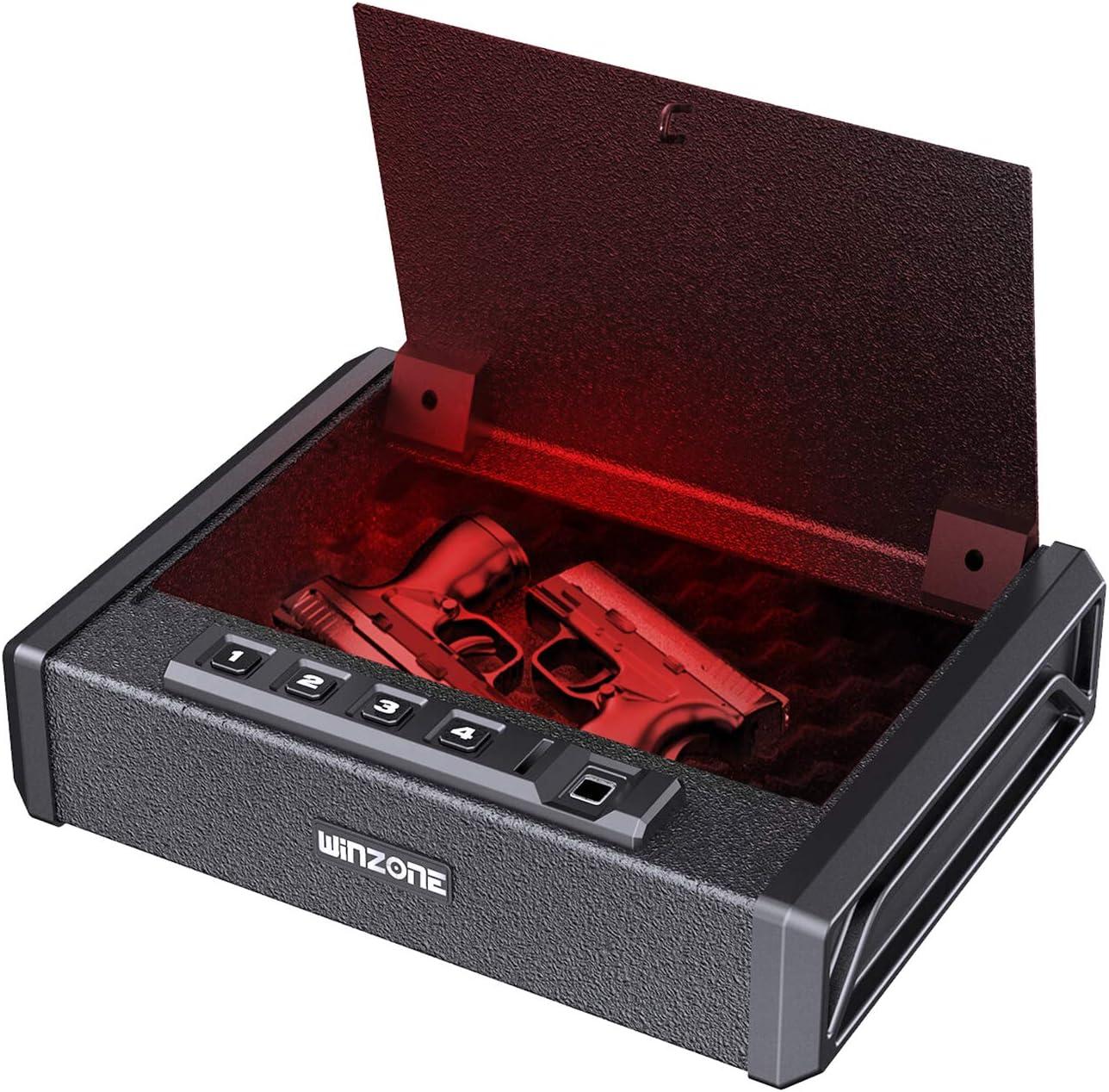 Gun Safe - Biometric Gun Safes for Pistols Quick Access Smart Handgun Safe Firearm Safety Device with Fingerprint,Keypad and Key Lock, Pistol Safe Box for Home Bedside Nightstand Car