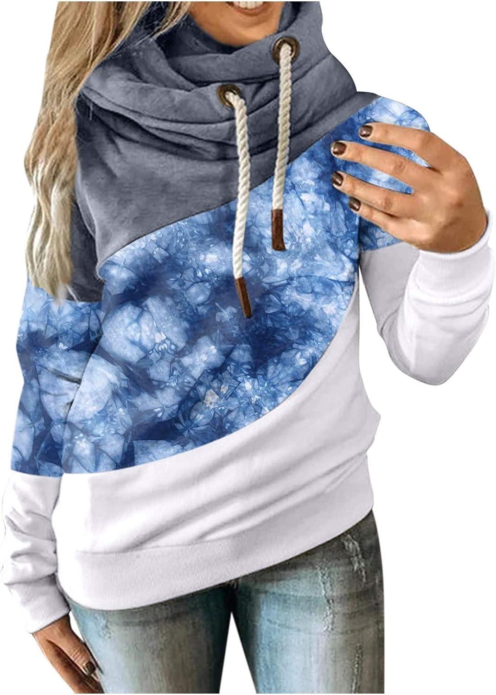 Womens Tie Dye Sweatshirt,Women's Tie Dye Hooded Cowl Neck Long Sleeve Color Block Pullover Hoodie Top with Pockets