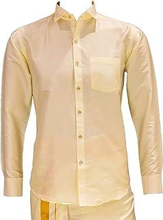 Magic Castle Shirt for Men Art Silk Pattu Full Sleeves Regular Fit (Cream, X-Large - 42)