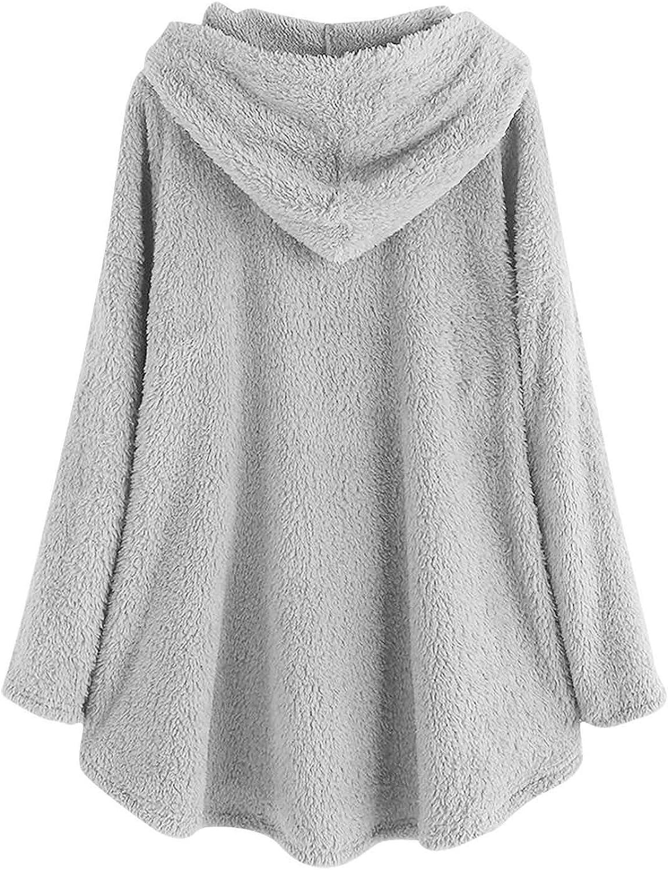 HCFKJ Sweatshirt Damen Große Größe Button Plüschjacke mit Kapuze Wolle Einfarbig Warm Langarm Mantel Pullover Bluse Herbst Winter Grau