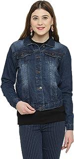 KOTTY Women's Crop Denim Jacket(Blue,XS)