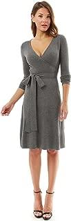 PattyBoutik Women V Neck Faux Wrap Long Sleeve Knit Dress