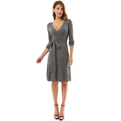 7a391a006718 PattyBoutik Women's V Neck Faux Wrap Long Sleeve Knit Dress