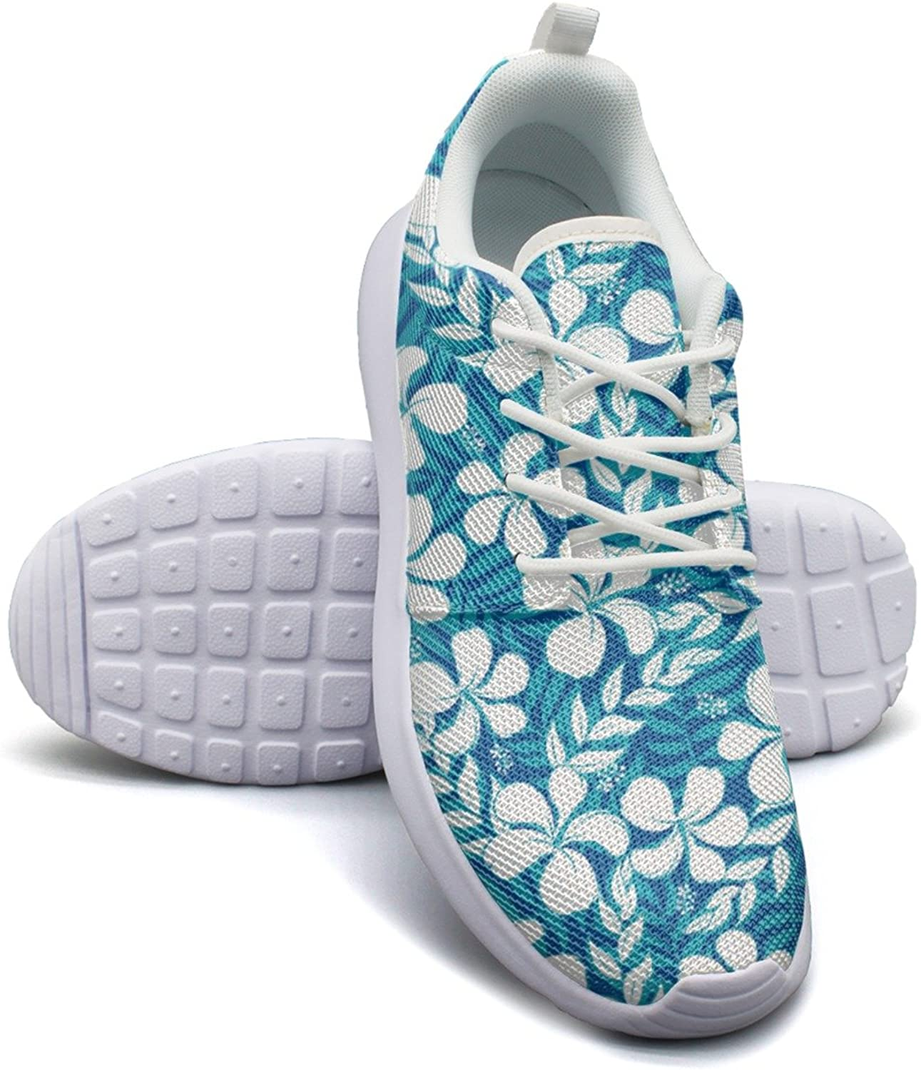Camping Tropical White And Turquoise Graphic Women Girls Unique Casual Running shoes