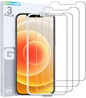 Luckymore Compatible with iPhone 12 Pro Screen Protector, Glass Screen Protector for iPhone 12 6.1 Inch Pack of 3