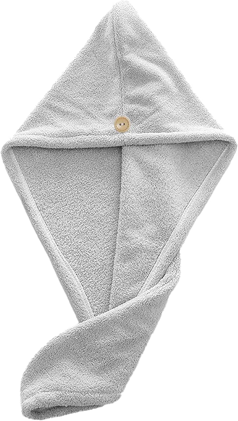 Microfiber Hair Towel Wrap for Women,25×15 Inch Super Absorbent Quick Dry Hair Turban for Drying Curly,Long or Thick Hair,Use for Home,Travel,Hotle,Outdoor,Swimming Pool,Gray