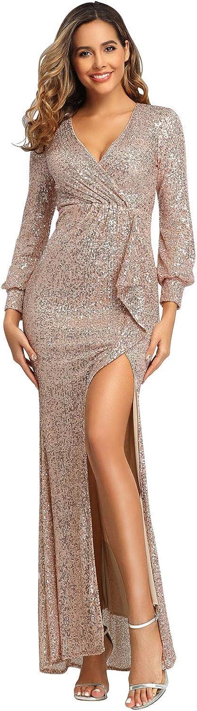 Women's Sparkle Glitzy Glam Sequin Stretch Slim Split Long Sleeve Evening Dress