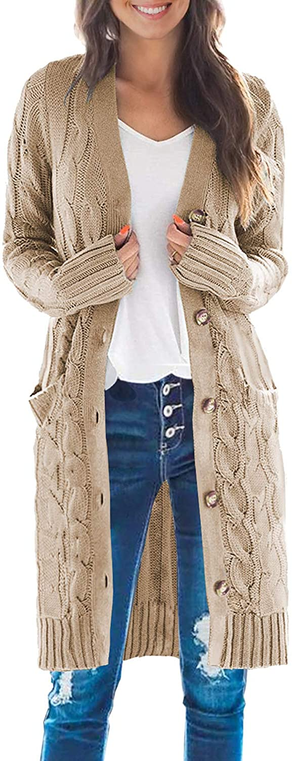 DOROSE Women's Long Sleeve Cable Knit Sweater Button Open Front Cardigans Coat with Pockets