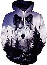 Loveternal Unisex Vintage Ice Forest Wolf Hoodies Fashion Hip Hop Street Dance Fleece Hooded Pullover Aniaml Sweatshirt for Women Men L