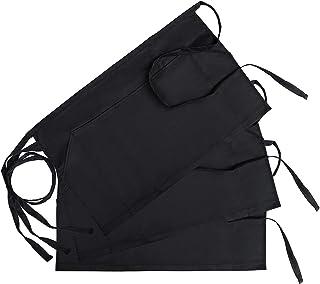 GWHOLE Pack of 3 Waist Apron with 3 Pockets for Chef Baker Bartender Craftsmen, Black
