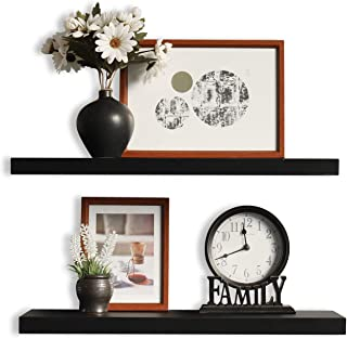 WELLAND Set of 2 Floating Shelves Wall Mounted Shelf, for Home Decor with 8