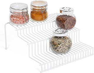Smart Design 3-Tier Spice Rack w/Plastic Feet - Steel Metal Frame - Rust Resistant Finish - Spices, Jars, Cans Organization - Kitchen (9 x 4.25 Inch) [White]