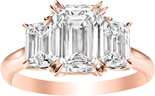 3 Three Stone Emerald Diamond Engagement Ring 14K Rose Gold (H-I Color VS1-VS2 Luxury Collection)