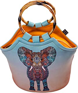 Neoprene Lunch Bag Purse by Art of Lunch - Artist Monika Strigel (Germany) and Art of Liv'n Have Partnered to Donate $.40 of Every Sale to The David Sheldrick Wildlife Trust - Elephant