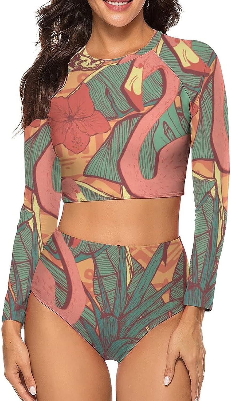 Tvsuh-u Womens Bathing Suits 2 PCS Flamingo Pineapple Long Sleeve Rash Guard Swimsuits High Neck Swimming Suit