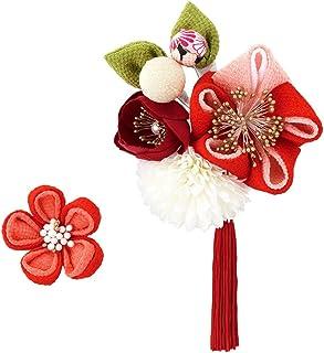 (ソウビエン) 髪飾り 成人式 卒業式 2点セット 赤 レッド ピンク 白 椿 花 ピンポンマム 玉飾り 縮緬 ちりめん つまみ細工 コサージュ 房飾り コーム Uピン 髪留め ヘアアクセサリー 卒業式 日本製