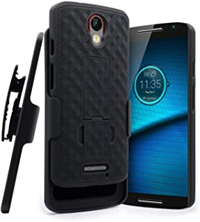 Droid Turbo 2 Case, Rome Tech OEM Shell Holster Premium Hybrid Shockproof Protective Cover for Motorola Droid Turbo 2 (2015) - Black