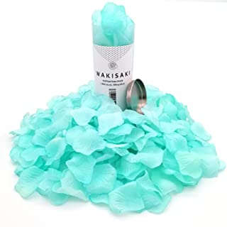 WAKISAKI Aritificial Rose Petals, Deodorized Seperated Ready-to-use, for Wedding Propose Romantic Party Event Decoration (1000 Count, Tiffany Blue)