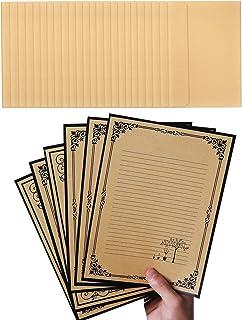 مجموعه نامه های نوشتاری NUIBY Total 72PCS - 48 مقاله لوازم التحریر با پاکت های خود چسب خط 24 - طراحی کاغذ قدیمی کلاسیک