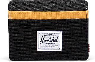 Herschel Charlie Wallet, Negro Crosshatch/Negro Ripstop/Blazing Orange