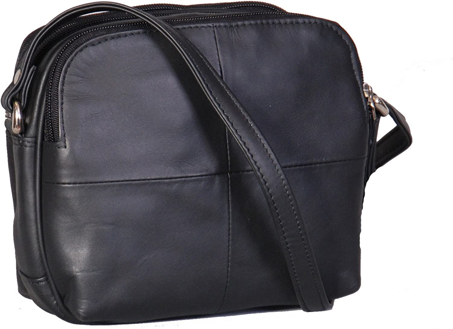 Womens Real Leather Small Organiser Travel Pouch Sling Shoulder Bag Bari Black