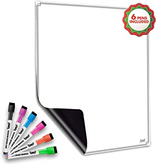 Magnetic Whiteboard for Refrigerator - Dry Erase Board - Large Sheet for Fridge with No Staining Technology - Best for Smart Family Planners - Free Markers Included (Vertical)
