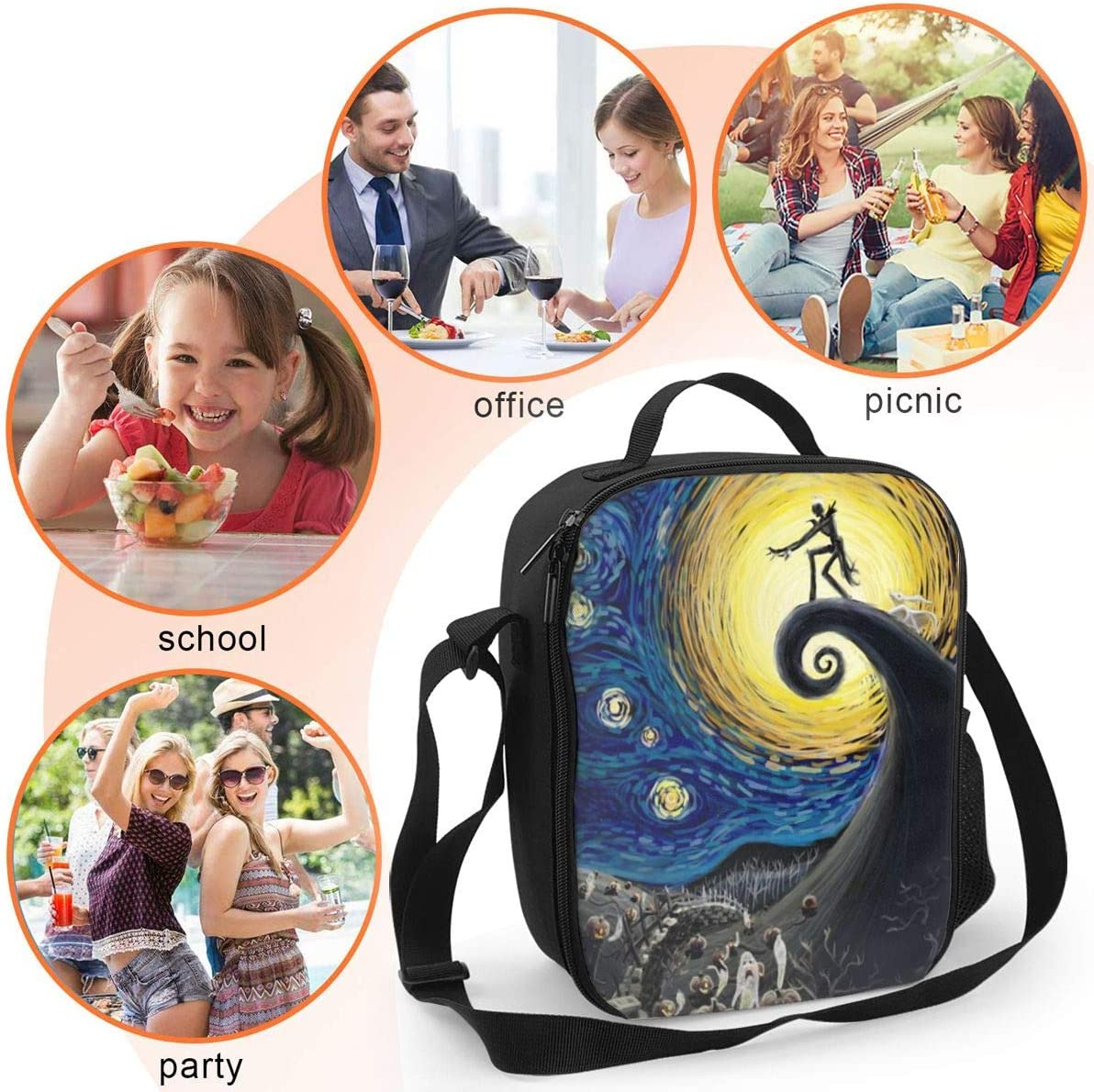 Insulated Lunch Bag Lunch Box Reusable Waterproof for Women Men The Nightmare Before Christmas