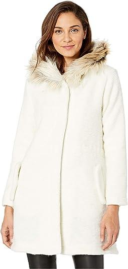 Coat On Faux Fur Trim Coat