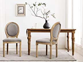 French Dining Chairs, Distressed Elegant Tufted Kitchen Chairs with Carving Wood Legs & Round Back - Set of 2 - Gray