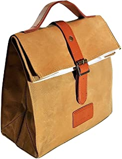 Large Lunch Bag | Stylish Lunch Tote | For Men & Women | Waxed Canvas | Eco Friendly Insulated Cotton Lining | Water Resistant | Khakis | Vintage Style | Handmade