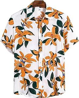 Hombres Casual Floral Impreso Camisetas Solapa Manga Corta Botones Patrón Verano Tops