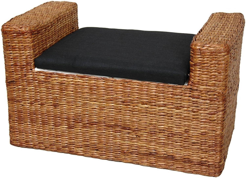 Oriental Furniture Fine Rattan Style Furnishings, 26-Inch Rush Grass Storage Bench, Honey