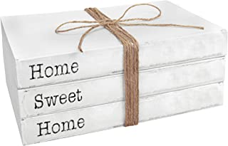 TenXVI Designs Decorative White Books, Set of 3 – Home Sweet Home Stacked Books..