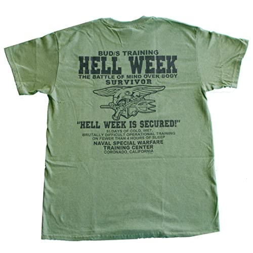 U.S. Navy Seals Hell Week T-Shirt Devgru UDT Underwater Demolition Team  Military Green 3eb8ed5b04b