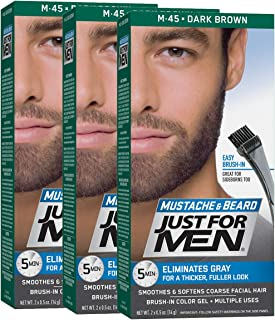 Just For Men Mustache & Beard Color, Beard Coloring for Men, Dark Brown (Pack of 3)