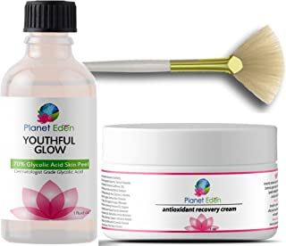70% Glycolic Acid Chemical Skin Peel Kit with Antioxidant Recovery Cream Set and Fan Brush - coolthings.us