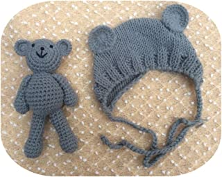 Pinbo Newborn Baby Photography Prop Bear Hat Beanie with Bear Dolls Accessories