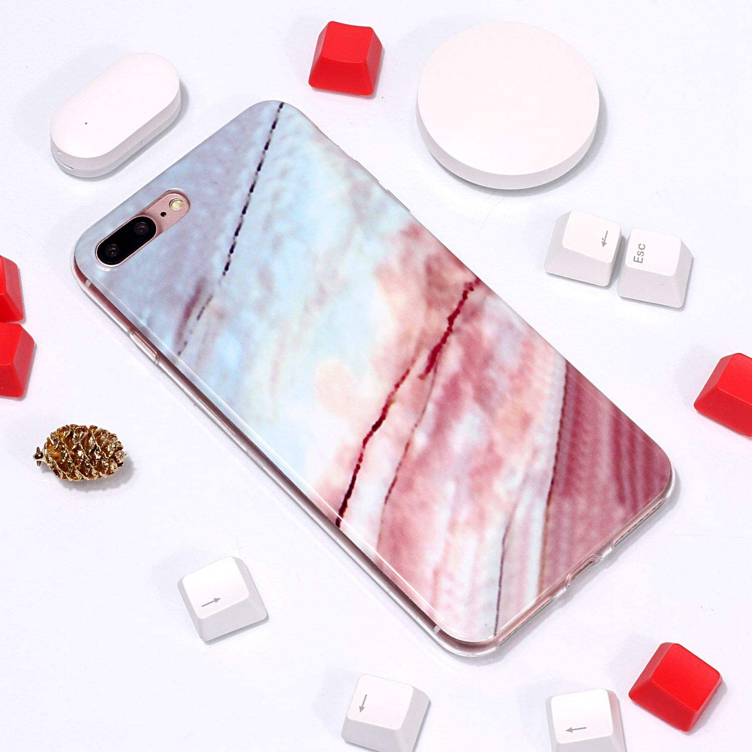 White for iPhone 7 Plus//8 Plus Marble Case and Screen Protector,Unique Pattern Design Skin Ultra Thin Slim Fit Soft Gel Silicone Case,QFFUN Shockproof Anti-Scratch Protective Back Cover