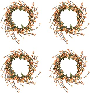 Factory Direct Craft Autumn Hued Pip Berry and Leaf Candle Rings   4 Candle Rings   for Indoor Decor