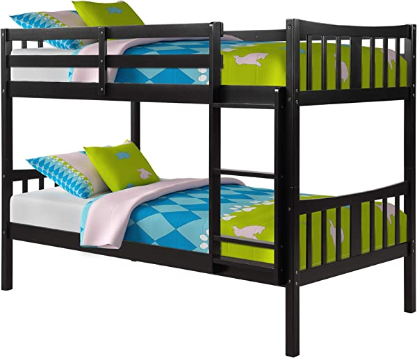MERITLINE Bunk Bed For Kids Twin Over Twin Convertible Wooden Bunk Bed Frame With Ladder And Safety Rail Espresso