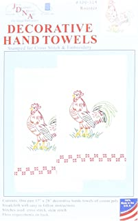 Jack Dempsey Stamped White Decorative Hand Towel Pair 17 x 28-inch, Rooster