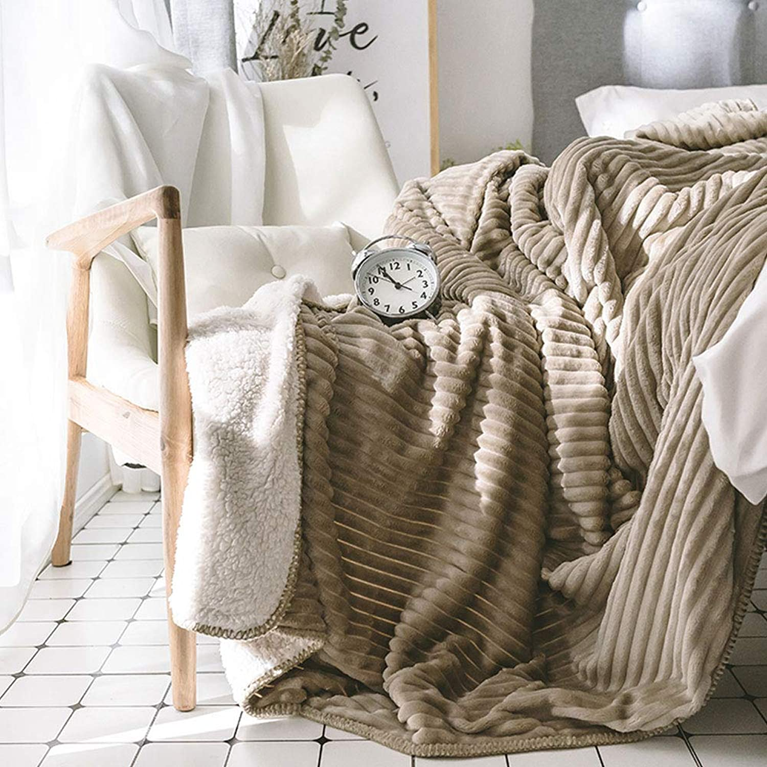Thicken Solid color Striped Lamb blanket blanket Coral blanket Quilt Single Double Flannel Sheets blanket Winter (color   Coffee, Size   78.74  90.55)